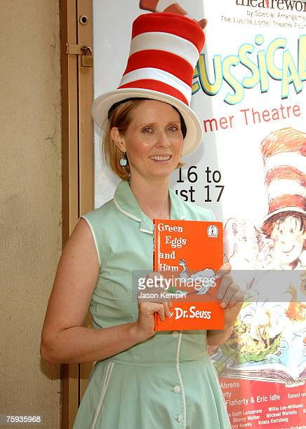 Actress Cynthia Nixon reads Dr Seuss's book Green Eggs and Ham to school children at the 19th Annual Free Summer Theater Program at the Lucille...