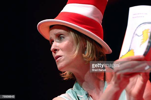 Actress Cynthia Nixon reads from the Dr Seuss book Green Eggs and Ham at TheatreworksUSA's Free Summer Theater offering at the Lucille Lortel Theatre...
