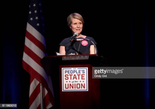 Actress Cynthia Nixon speaks onstage at The People's State Of The Union at Townhall on January 29 2018 in New York City