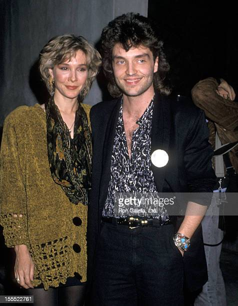 Actress Cynthia Rhodes and musician Richard Marx attend Richard Marx Receives a Triple Platinum Award for His Latest Album Repeat Offender and...