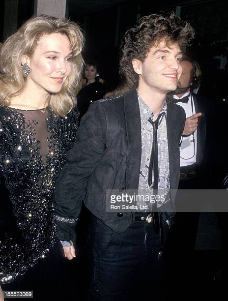 Actress Cynthia Rhodes and musician Richard Marx attend the 45th Annual Golden Globe Awards on January 23 1988 at Beverly Hilton Hotel in Beverly...