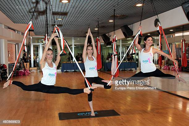 Actress Dafne Fernandez actress Kira Miro and model Veronica Blume attend yoga air masterclass by Evax on May 21 2014 in Madrid Spain