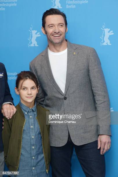 Actress Dafne Keen and actor Hugh Jackman attend the 'Logan' photo call during the 67th Berlinale International Film Festival Berlin at Grand Hyatt...
