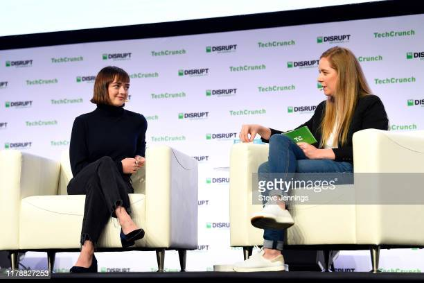 Actress & Daisie Co-founder Maisie Williams and TechCrunch Managing Editor Jordan Crook speak onstage during TechCrunch Disrupt San Francisco 2019 at...