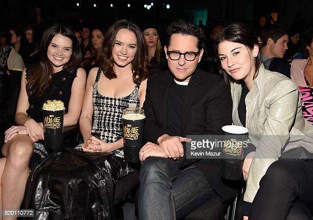 Actress Daisy Ridley and filmmaker JJ Abrams attend the 2016 MTV Movie Awards at Warner Bros Studios on April 9 2016 in Burbank California MTV Movie...