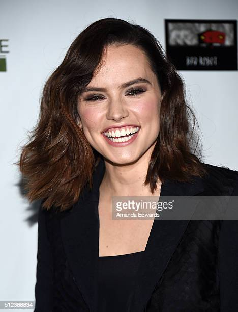 Actress Daisy Ridley arrives at the 2016 Oscar Wilde Awards at Bad Robot on February 25 2016 in Santa Monica California