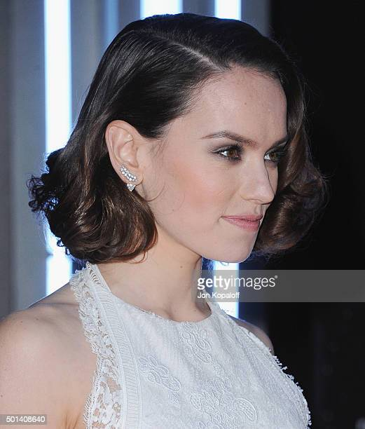 Actress Daisy Ridley arrives at the Los Angeles Premiere Star Wars The Force Awakens on December 14 2015 in Hollywood California