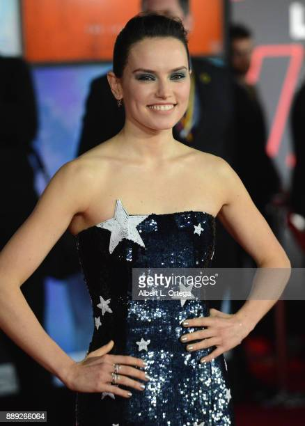 Actress Daisy Ridley arrives for the Premiere Of Disney Pictures And Lucasfilm's 'Star Wars The Last Jedi' held at The Shrine Auditorium on December...