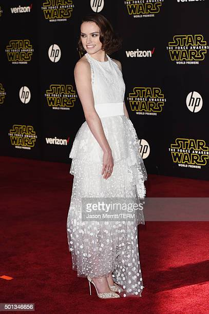 Actress Daisy Ridley attends Premiere of Walt Disney Pictures and Lucasfilm's Star Wars The Force Awakens on December 14 2015 in Hollywood California