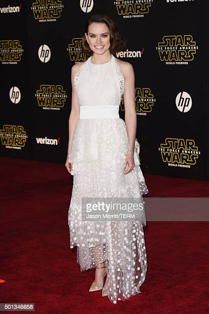 Actress Daisy Ridley attends Premiere of Walt Disney Pictures and Lucasfilm's 'Star Wars The Force Awakens' on December 14 2015 in Hollywood...