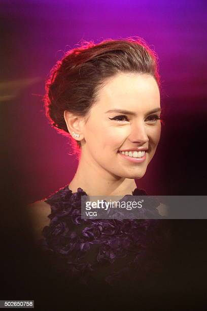Actress Daisy Ridley attends Star Wars The Force Awakens premiere at Shanghai Grand Theatre on December 27 2015 in Shanghai China