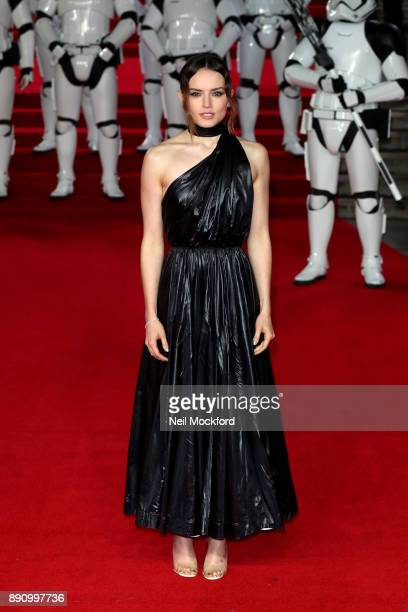Actress Daisy Ridley attends the European Premiere of 'Star Wars The Last Jedi' at Royal Albert Hall on December 12 2017 in London England
