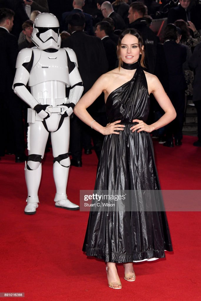 Actress Daisy Ridley attends the European Premiere of 'Star Wars: The Last Jedi' at Royal Albert Hall on December 12, 2017 in London, England.