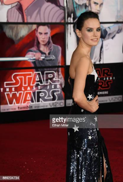 Actress Daisy Ridley attends the premiere of Disney Pictures and Lucasfilm's 'Star Wars The Last Jedi' at The Shrine Auditorium on December 9 2017 in...