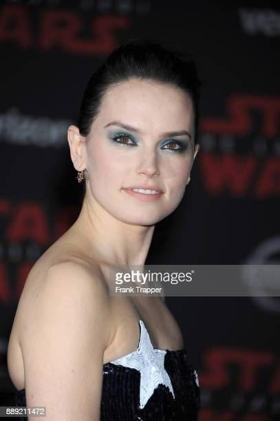 Actress Daisy Ridley attends the premiere of Disney Pictures and Lucasfilm's 'Star Wars The Last Jedi' held at The Shrine Auditorium on December 9...