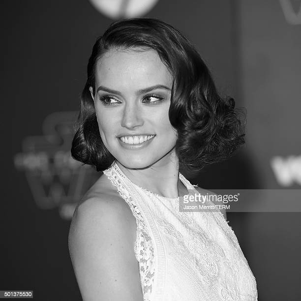 Actress Daisy Ridley attends The Premiere of Walt Disney Pictures and Lucasfilm's Star Wars The Force Awakens on December 14 2015 in Hollywood...