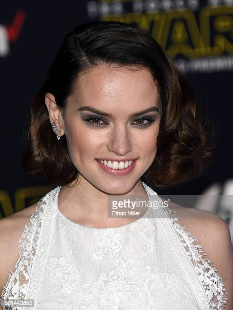 Actress Daisy Ridley attends the premiere of Walt Disney Pictures and Lucasfilm's Star Wars The Force Awakens at the Dolby Theatre on December 14...