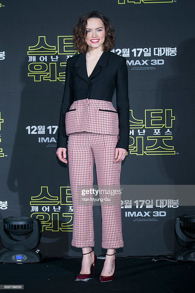 Actress Daisy Ridley attends the press conference for 'Star Wars: The Force Awakens' at the Conrad Hotel on December 9, 2015 in Seoul, South Korea. The film will open on December 17, in South Korea.