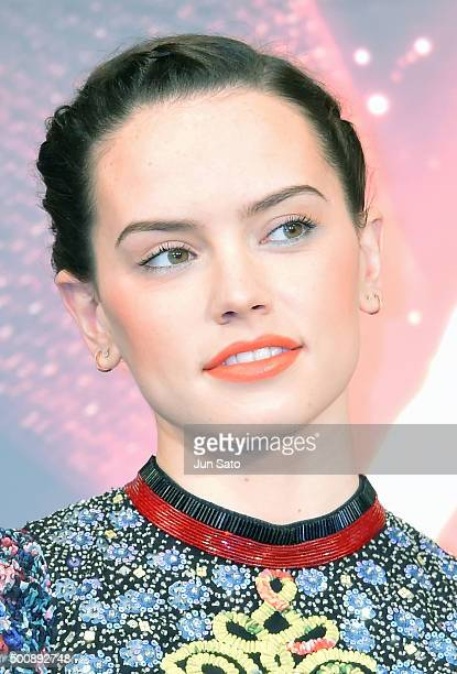 Actress Daisy Ridley attends the press conference for 'Star Wars The Force Awakens' Japan premiere at the Sheraton Grande Tokyo Bay Hotel on December...