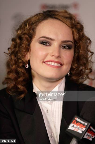 Actress Daisy Ridley is interviewed in the winners room at the Rakuten TV EMPIRE Awards 2018 at The Roundhouse on March 18 2018 in London England