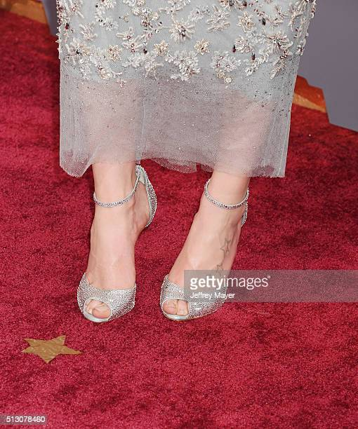 Actress Daisy Ridley shoe tattoo detail at the 88th Annual Academy Awards at Hollywood Highland Center on February 28 2016 in Hollywood California