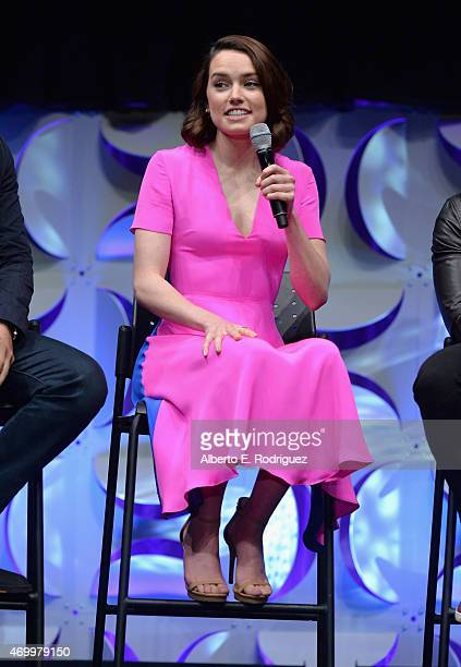 Actress Daisy Ridley speaks onstage during Star Wars Celebration 2015 on April 16 2015 in Anaheim California