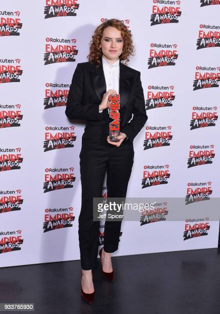 Actress Daisy Ridley winner of the Best Actress award poses in the winners room at the Rakuten TV EMPIRE Awards 2018 at The Roundhouse on March 18...