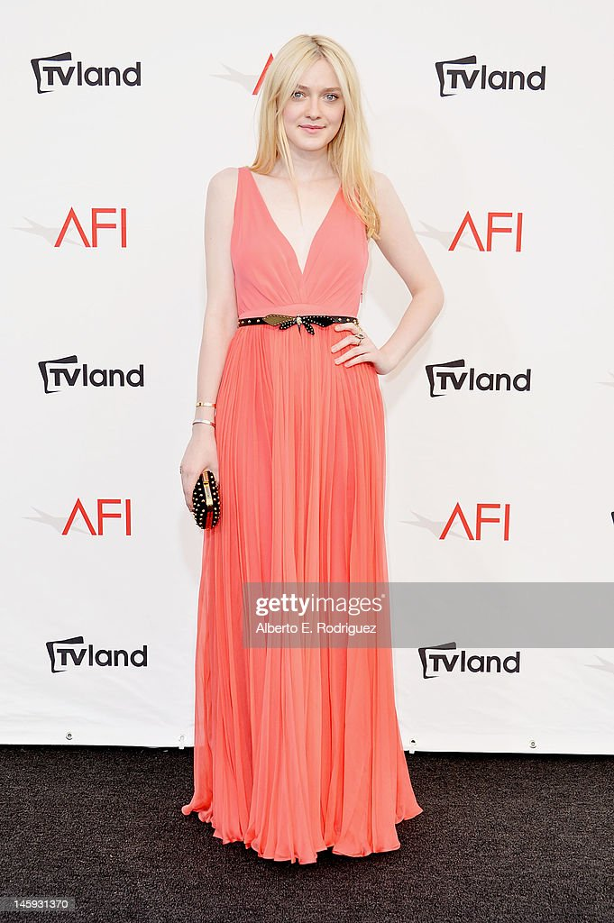 Actress Dakota Fanning arrives at the 40th AFI Life Achievement Award honoring Shirley MacLaine held at Sony Pictures Studios on June 7, 2012 in Culver City, California. The AFI Life Achievement Award tribute to Shirley MacLaine will premiere on TV Land on Saturday, June 24 at 9PM