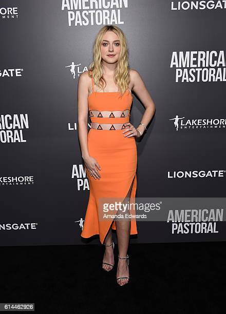 Actress Dakota Fanning arrives at the premiere of Lionsgate's American Pastoral on October 13 2016 in Beverly Hills California
