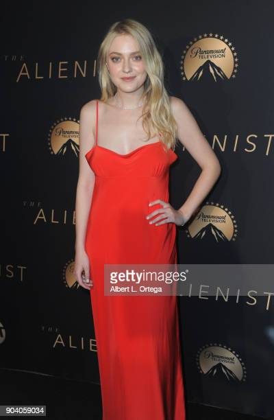 Actress Dakota Fanning arrives for the Premiere Of TNT's The Alienist held at Paramount Pictures on January 11 2018 in Los Angeles California
