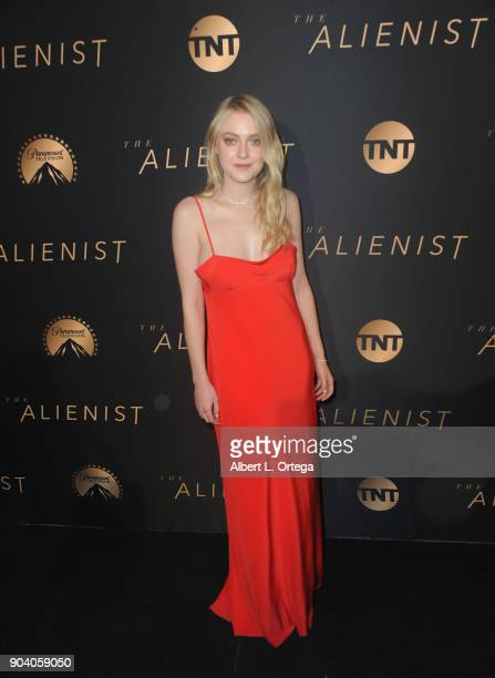 Actress Dakota Fanning arrives for the Premiere Of TNT's 'The Alienist' held at Paramount Pictures on January 11 2018 in Los Angeles California