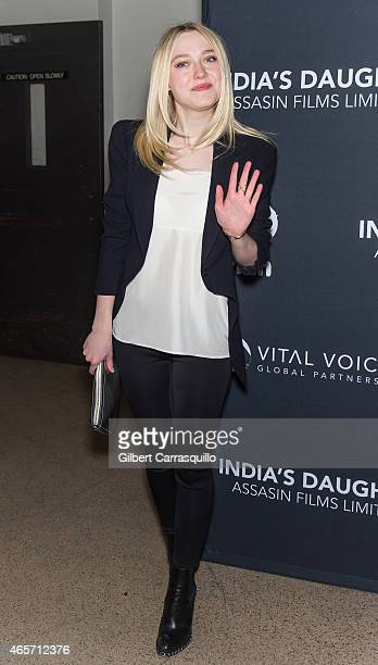Actress Dakota Fanning attends 'India's Daughter' New York Screening at Baruch College on March 9 2015 in New York City