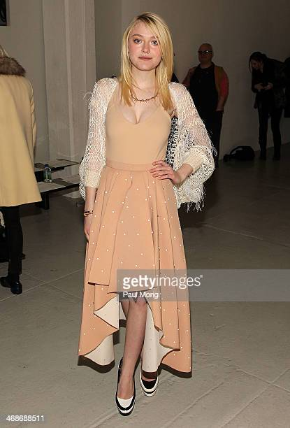 Actress Dakota Fanning attends the Rodarte Show during MercedesBenz Fashion Week Fall 2014 at Center 548 on February 11 2014 in New York City