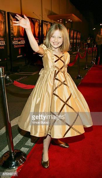 Actress Dakota Fanning attends the Twentieth Century Fox film Hide and Seek on January 24 2005 in Los Angeles California
