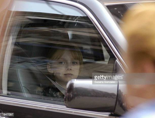 Actress Dakota Fanning sits in a car during the filming of Man on Fire April 23 2003 in Mexico City Mexico This is the first movie to be filmed...