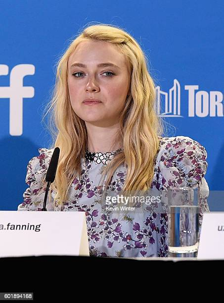 Actress Dakota Fanning speaks onstage at the 'American Pastoral' press conference during the 2016 Toronto International Film Festival at TIFF Bell...