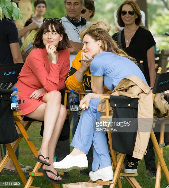Actress Dakota Johnson and Leslie Mann are seen on the set of 'How To Be Single' on May 28 2015 in New York City