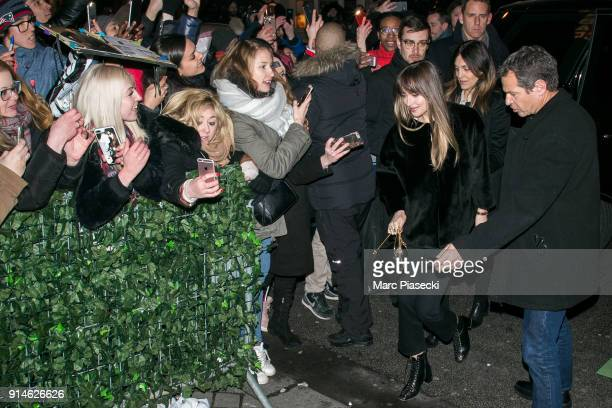 Actress Dakota Johnson arrives at 'C a Vous' TV show on February 5 2018 in Paris France