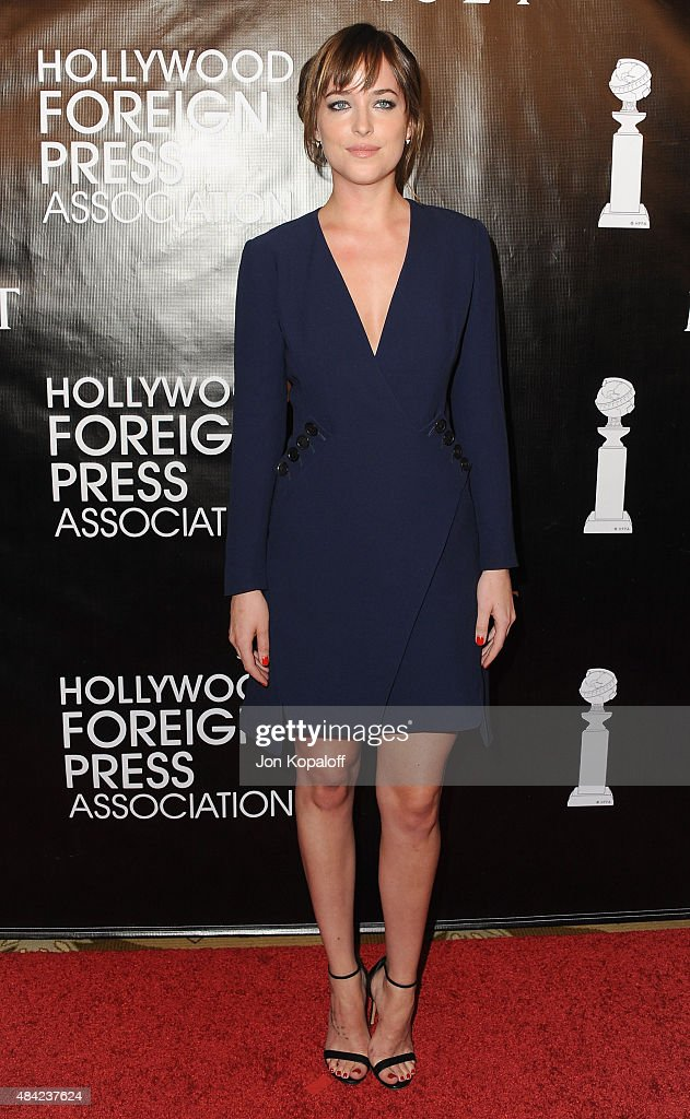Actress Dakota Johnson arrives at Hollywood Foreign Press Association Hosts Annual Grants Banquet at the Beverly Wilshire Four Seasons Hotel on August 13, 2015 in Beverly Hills, California.