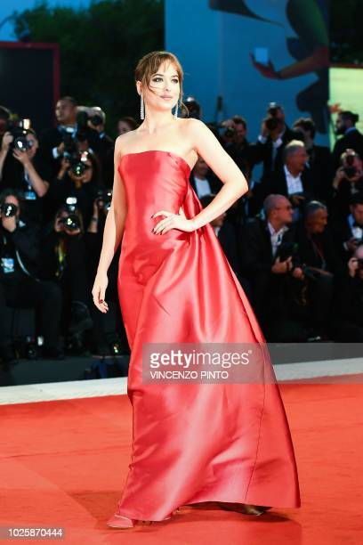 Actress Dakota Johnson arrives for the premiere of the film Suspiria presented in competition on September 1 2018 during the 75th Venice Film...