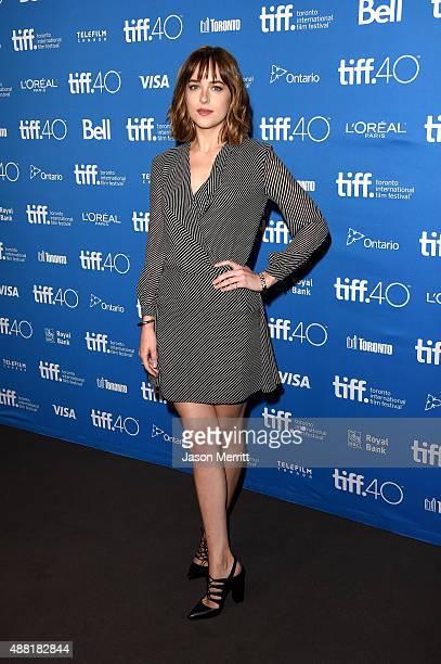 Actress Dakota Johnson attends the Black Mass press conference at the 2015 Toronto International Film Festival at TIFF Bell Lightbox on September 14...