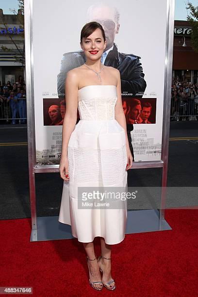 "Actress Dakota Johnson attends the Boston premiere of ""Black Mass"" at Coolidge Corner Theater on September 15, 2015 in Brookline, Massachusetts."