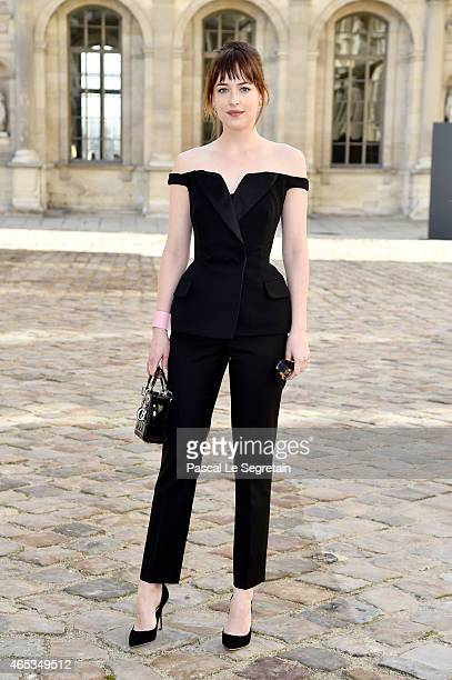 Actress Dakota Johnson attends the Christian Dior show as part of the Paris Fashion Week Womenswear Fall/Winter 2015/2016 on March 6 2015 in Paris...