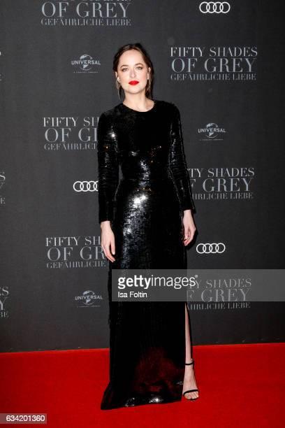 US actress Dakota Johnson attends the European premiere of 'Fifty Shades Darker' at Cinemaxx on February 7 2017 in Hamburg Germany