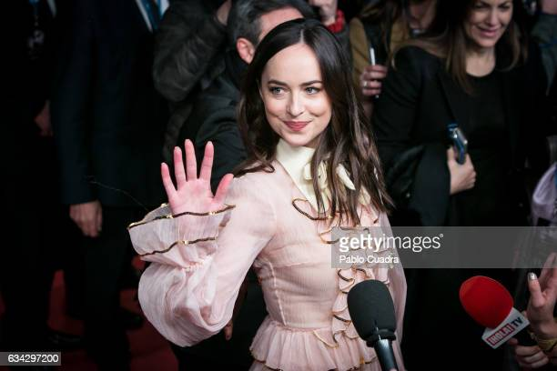 Actress Dakota Johnson attends the 'Fifty Shades Darker' premiere at Kinepolis Cinema on February 8 2017 in Madrid Spain