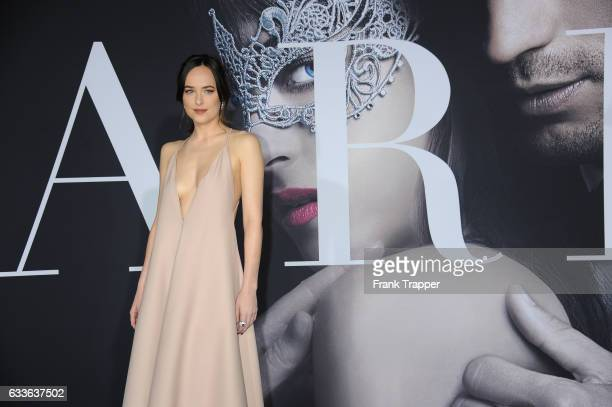 Actress Dakota Johnson attends the premiere of Universal Pictures' 'Fifty Shades Darker' at The Theatre at Ace Hotel on February 2, 2017 in Los...