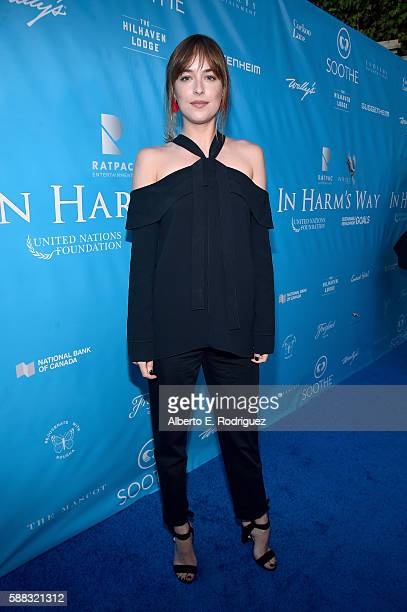 Actress Dakota Johnson attends the special event for UN SecretaryGeneral Ban Kimoon hosted by Brett Ratner and David Raymond at Hilhaven Lodge on...