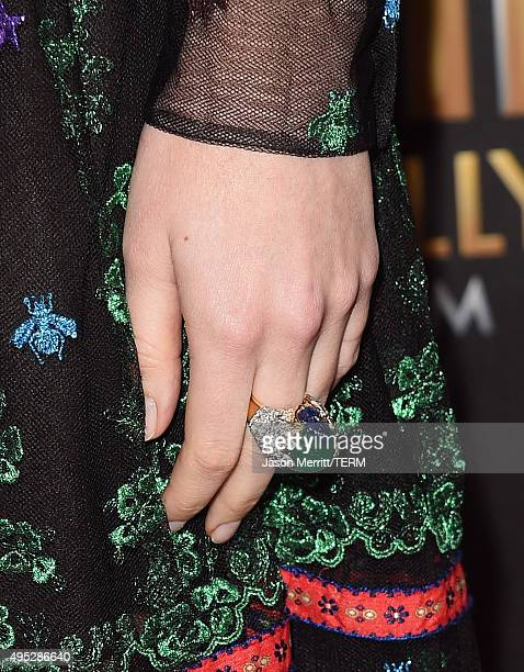 Actress Dakota Johnson ring detail attends the 19th Annual Hollywood Film Awards at The Beverly Hilton Hotel on November 1 2015 in Beverly Hills...