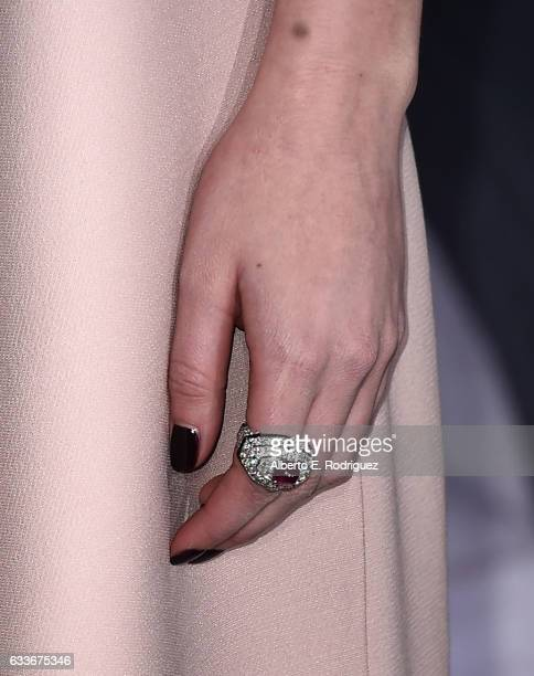 Actress Dakota Johnson ring detail attends the premiere of Universal Pictures' 'Fifty Shades Darker' at The Theatre at Ace Hotel on February 2 2017...