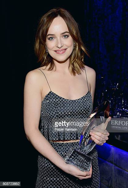 Actress Dakota Johnson wearing Cartier jewelry attends the People's Choice Awards 2016 at Microsoft Theater on January 6 2016 in Los Angeles...